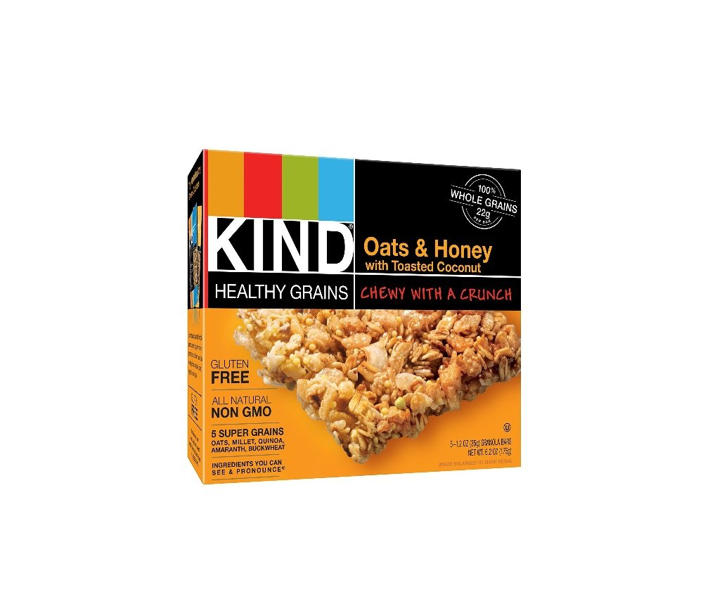 Kind Healthy Grains Granola Bars, Oats & Honey with Toasted Coconut, 1.2oz Bars, 5 Count (Pack of 3) by Kind