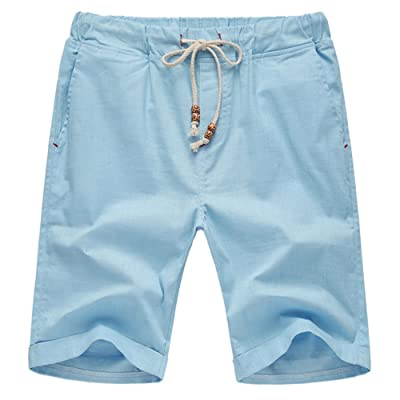 Aiyino Men's Linen Casual Classic Fit Short Summer Beach Shorts at Men's Clothing store