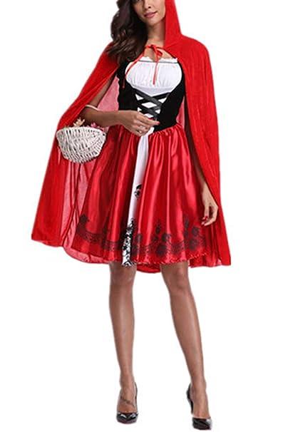 Zojuyozio Vestido De Fiesta Disfraz Cosplay Caperucita Roja De Halloween para Mujer