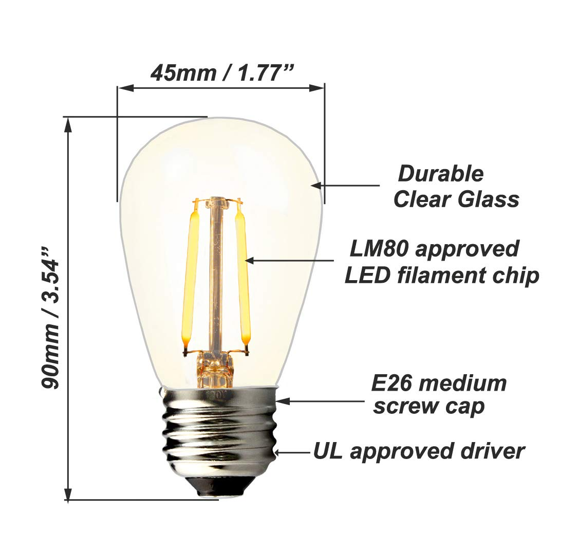 BRIMAX - (25PACK) - 2W S14 LED Outdoor Edison Light Bulbs for String Light Replacement, E26 Medium Screw Base, Dimmable, 2700K, 2Watt to Replace 11w/20w/25w Incandescent Bulb, Weatherproof by BRIMAX (Image #3)