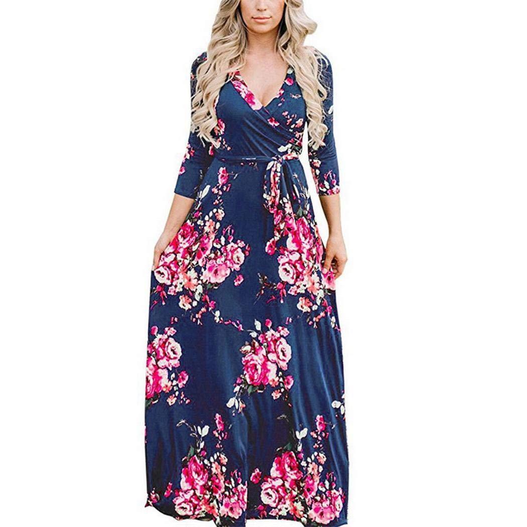 Navy bluee LEANO Women Boho Style Floral Print ThreeQuarter Sleeve Long Beach Dress Dresses