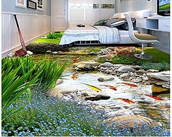 Sykdybz Papel Tapiz 3D 3D Suelos Impermeables Del Agua Del Río Jardín Trasero 3D Del Primer Piso Piso En 3D Papel Tapiz Papel Tapiz De Pintura-350Cmx245Cm: Amazon.es: Bricolaje y herramientas