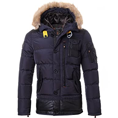 Men's hooded faux fur quilted jackets