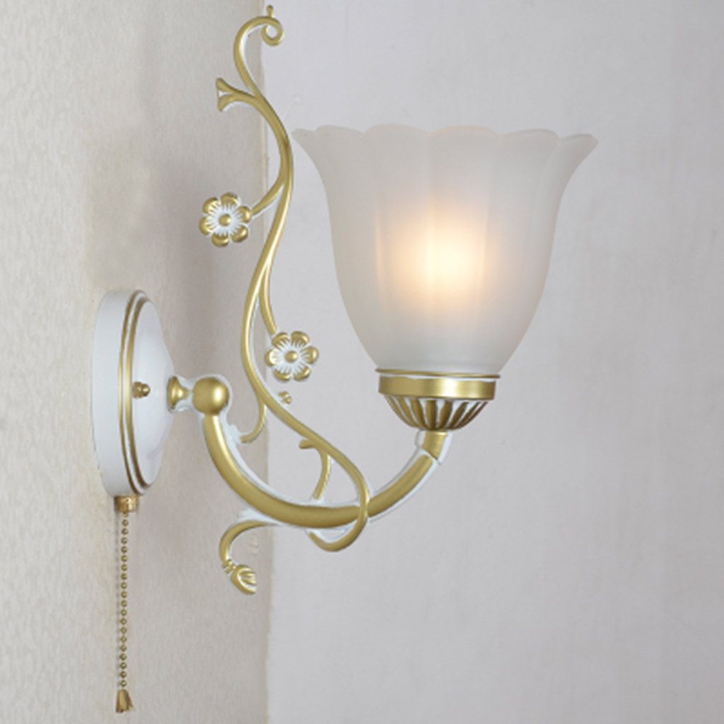 E27 Pull Chain Wall Light Lamp Metal White Glass Shade For Bedside Lamp Living Room Wall Sconce Stair Lamp