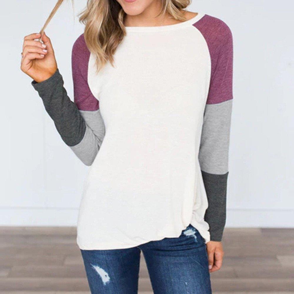 Lightweight Tops for Women Long Sleeve Crew Neck Color Block Loose Casual Basic Tee Cute Tunic Sweatshirts Shirts Tops