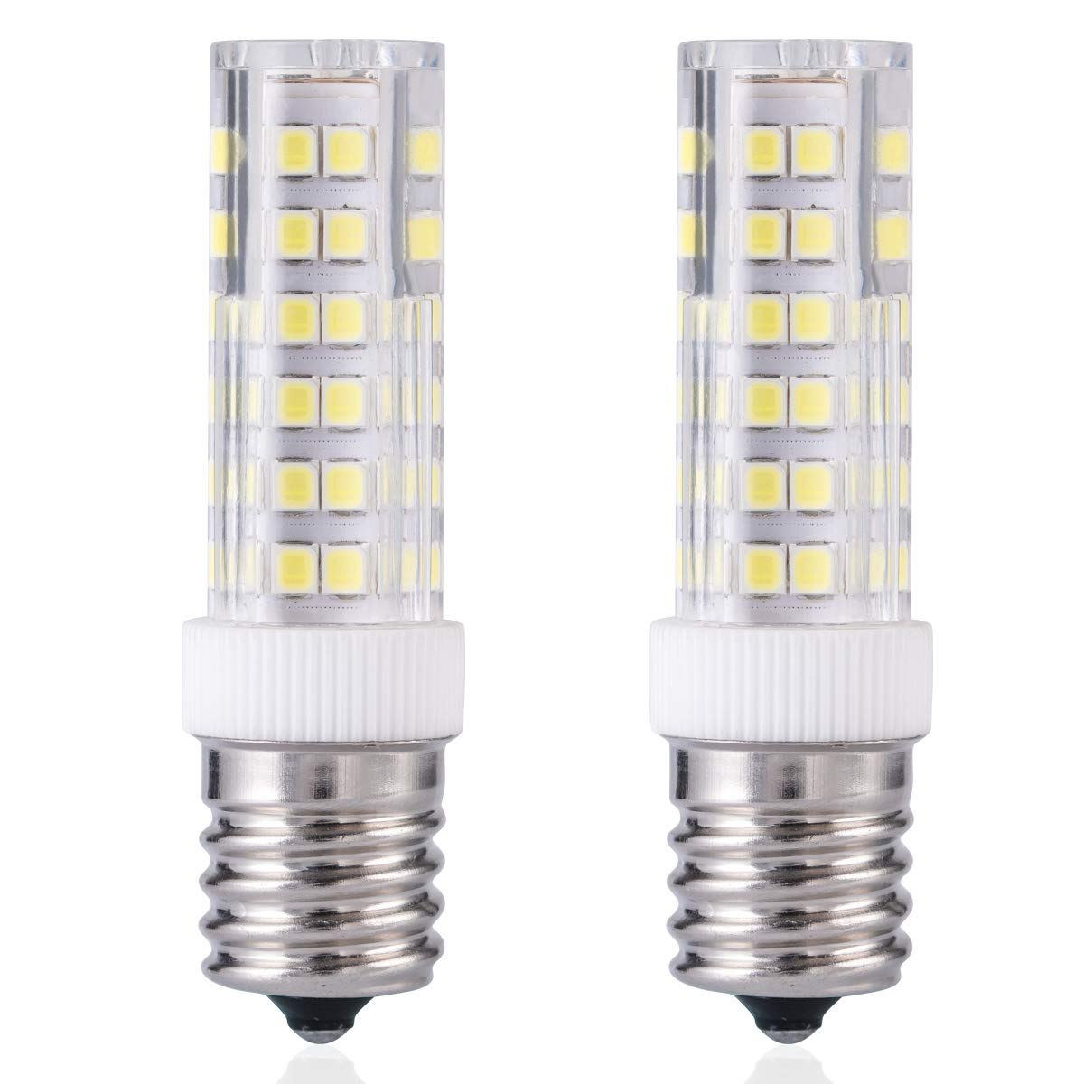 E17 LED Bulb Over Counter Microwave Oven Light Dimmable 6 Watt Daylight White 6000K for Large Christmas Lights and Ceiling Fan Light Fixture (Pack of 2)