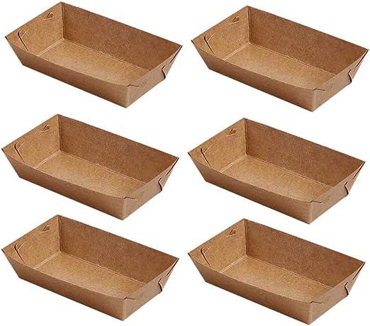 Noblik 50 Piezas de Papel Desechable Bandeja de Servicio de Alimentos Recubrimiento de Papel Kraft Forma de Barco Bocadillo Caja Abierta Papas Fritas Caja de Pollo (20 X 6 X 3Cm): Amazon.es: Hogar