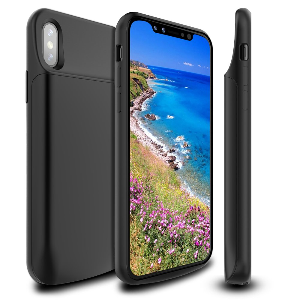 iPhone X Battery Case 6000mAh,Newdery Slim Rechargeable Portable Extended Charger Case, Protective Backup Charging Case Magnetic Mental iPhone 10 - Support Lightning Headphones(Black)