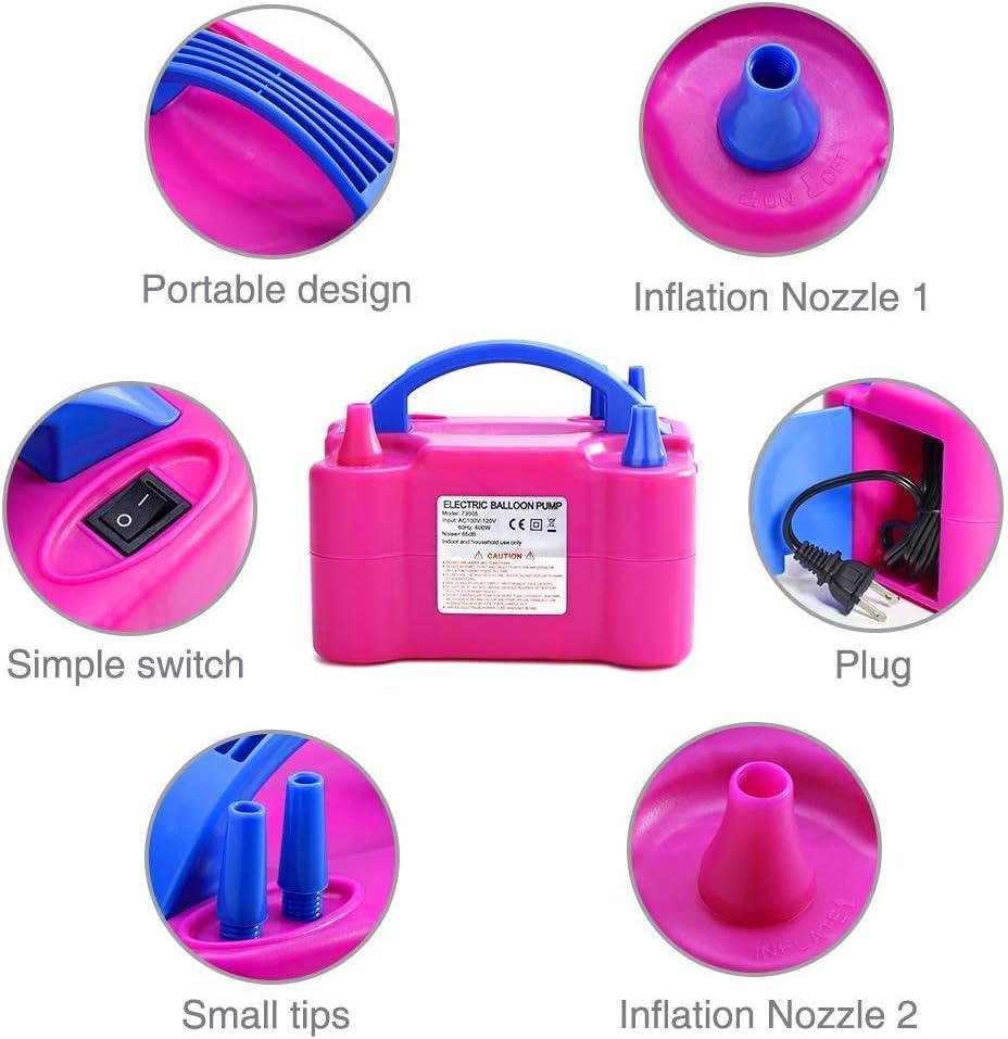 MVpower/®600W Rose Gonfleur Ballon Electrique Pompe de Gonflage a Air Deux Buses dair Du Ventilateur Portable