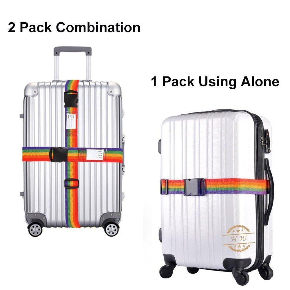 Sangle de s/écurit/é pour valise Lot de 2 sangles r/églables de 198,1/cm de long sac de voyage  Couleur arc-en-ciel