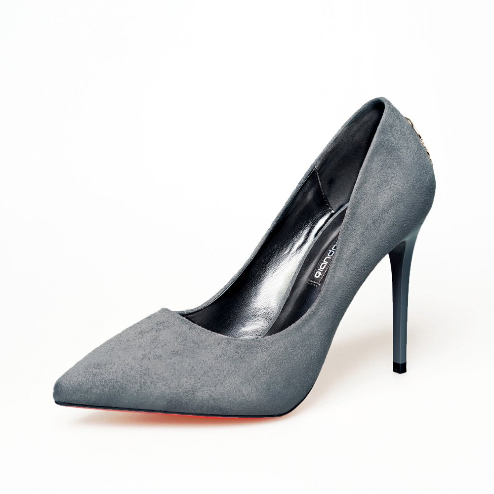 The fine details with high-heel shoes sexy women high heels with black satin, metal tip, gray 35