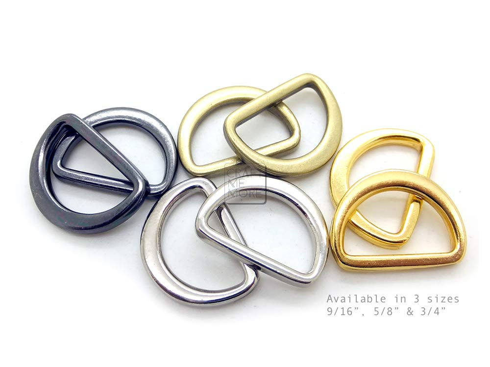 CRAFTMEmore D Rings Molded Solid Cast FLAT Metal D Ring Findings for Purse Belts Landyards Leathercraft 14MM 16MM 20MM Pack of 25 20 mm , Gold 3//4