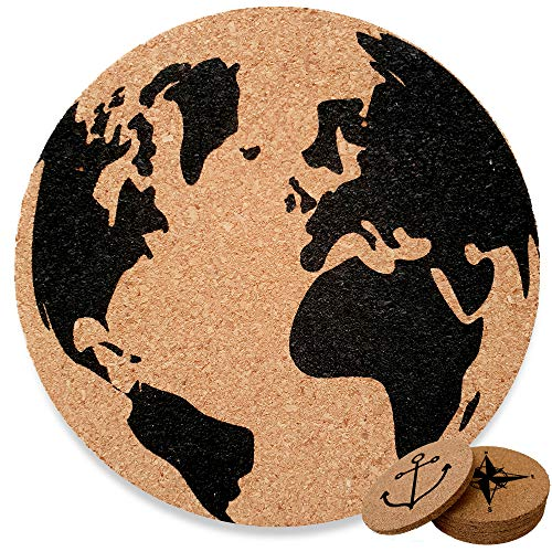 - Drink Coasters Set Of 6 | Cork Coasters For Drinks | Non Slip Rustic Kitchen Barware Decor | Protect Your Table From Stains | Travellers Edition.