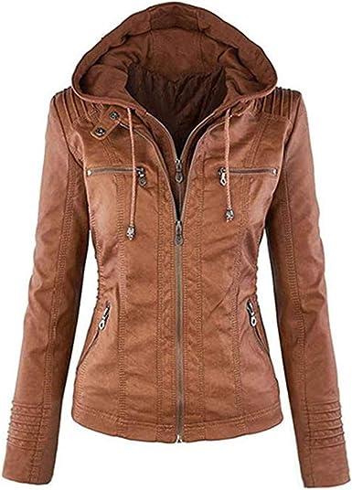 Newbestyle Jacke Damen Lederjacke Frauen Kunstlederjacke