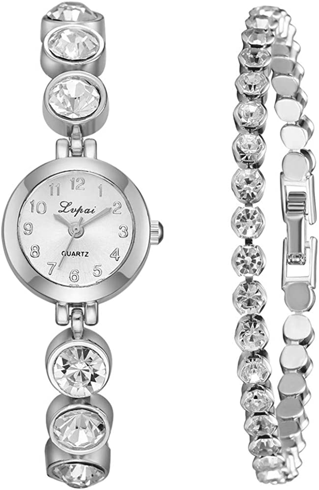 DAYLIN Conjunto Relojes Mujer de Moda con Caja Reloj Pulsera Brazalete Conjunto Reloj Marea Niña Reloj Analogico de Cuarzo Ragalos Joyas para Mujer Reloj Diamantes Oro: Amazon.es: Relojes