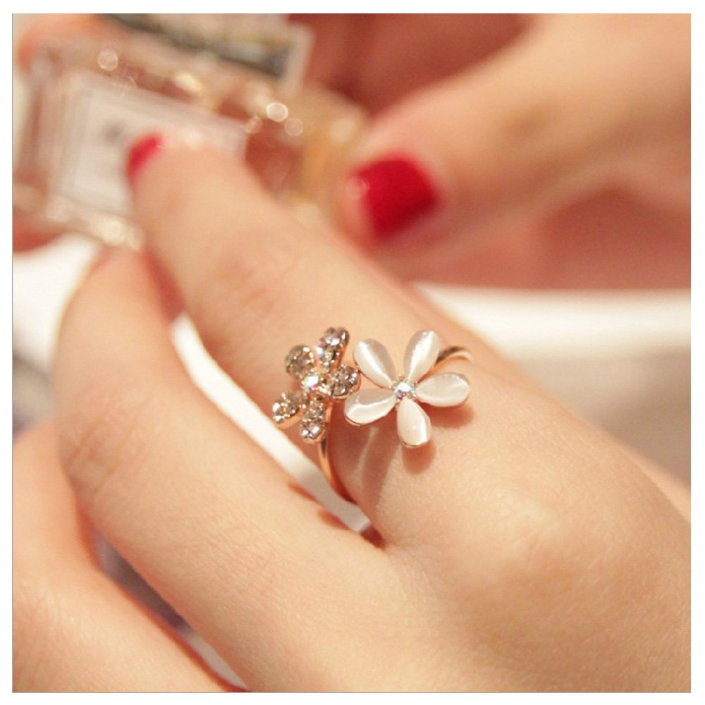 Rose Gold Cubic Zirconia Flower Stackable Midi Rings Opal Plain Open Adjustable Rings Wedding Jewelry CHICY CH072302