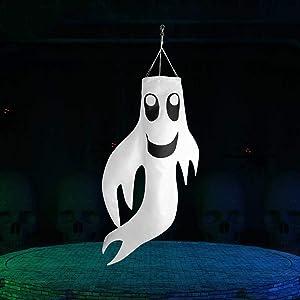 Ghost Halloween Decorations Halloween Windsock Flag Hanging Ghost Windsock Spook Halloween Tree Decoration White Shaking Ghost Windsock for Front Door Yard Porch Patio Lawn Garden Party Decor 34 Inch