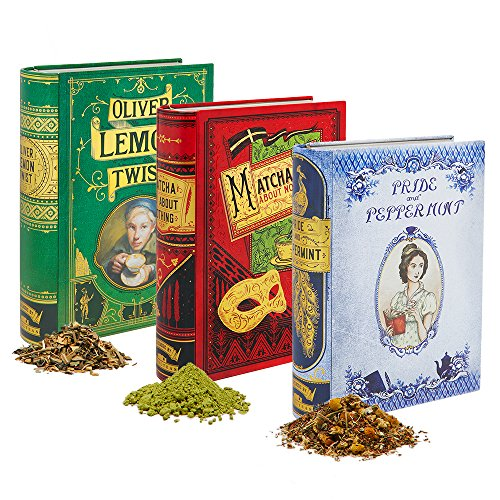 Set Tea Box Collection with Punny Tea Inside: Pride and Peppermint, Matcha Do About Nothing, Oliver Lemon Twist (Cherry Caffeine Free Coffee)