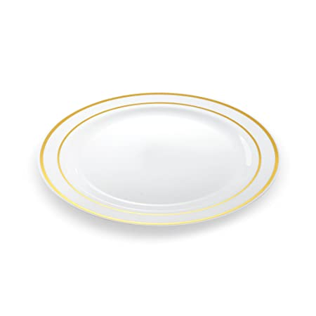 20 High Quality u0026 Elegant Disposable 26 cm Dinner Plates with Gold Rims  sc 1 st  Amazon UK & 20 High Quality u0026 Elegant Disposable 26 cm Dinner Plates with Gold ...