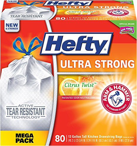 Hefty Ultra Strong Trash Bags (Citrus Twist, Tall Kitchen Drawstring, 13 Gallon, 80 Count)