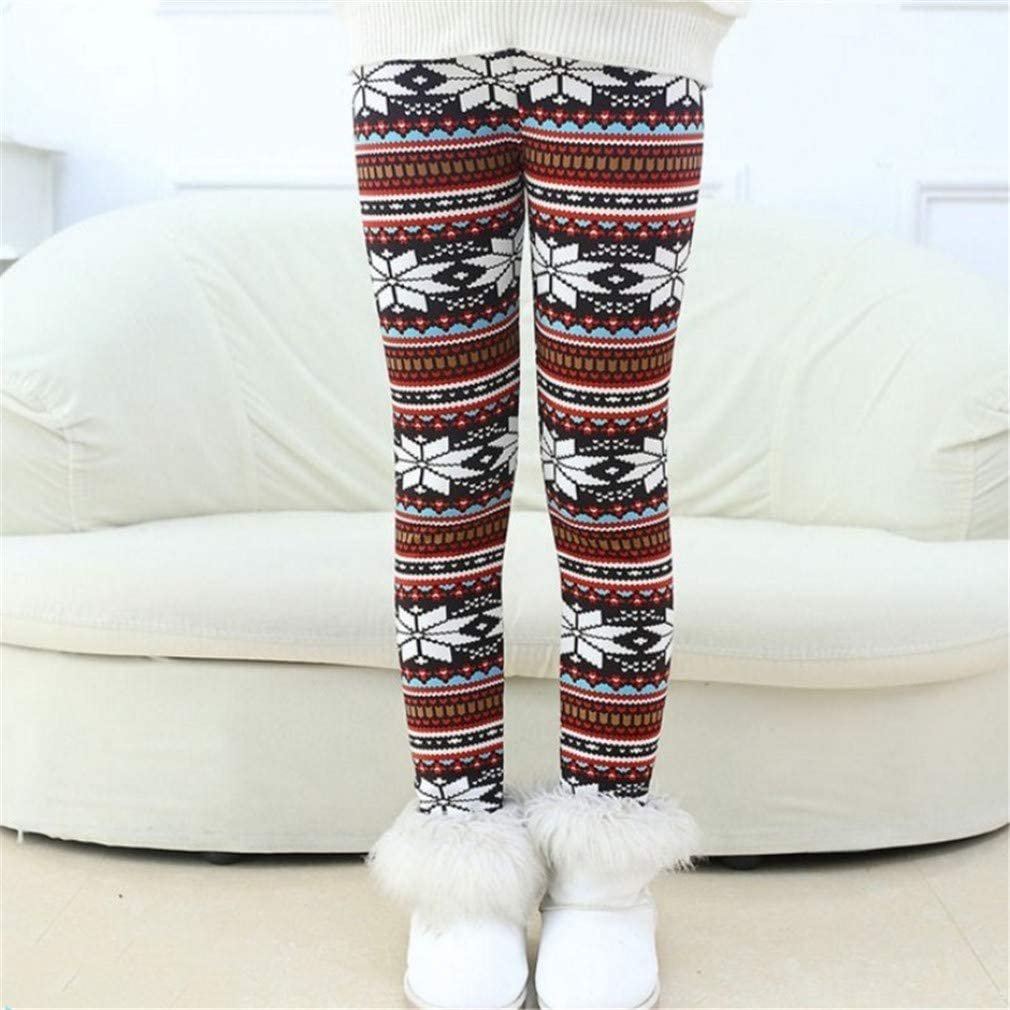 Csbks Girls Fleece Lined Thick Leggings Colorful Autumn Winter Warm Pants White Snowflake 4-5 Years
