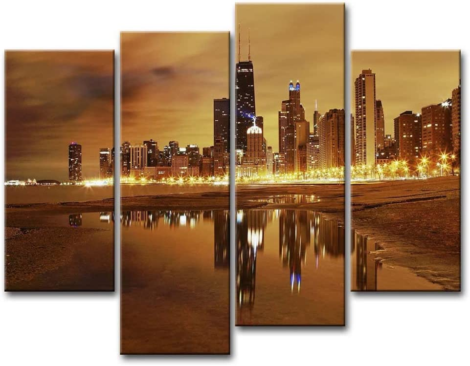 So Crazy Art- Chicago Wall Art Decor Skyline of USA City Under the Lighted Night Canvas Pictures Artwork 4 Panel Modern Painting Prints for Home Living Dining Room Kitchen