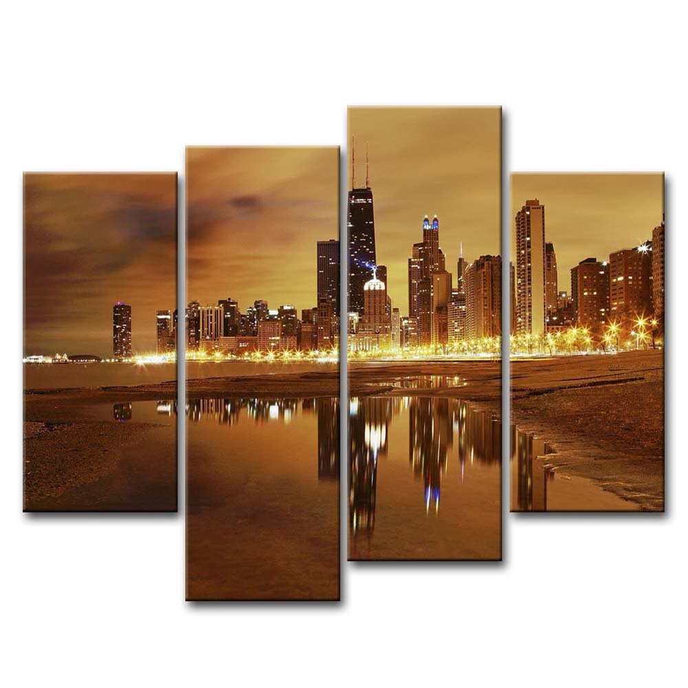 Gentil Wall Art Canvas Chicago Skyline City Home Decor Office Gift Framed Gift NEW