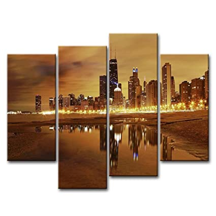 Canvas Print Wall Art Painting For Home Decor Modern City Chicago Skyline United States City Skyline  sc 1 st  Amazon.com & Amazon.com: Canvas Print Wall Art Painting For Home Decor Modern ...