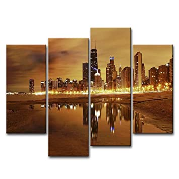 Canvas Print Wall Art Painting For Home Decor Modern City Chicago Skyline  United States City Skyline