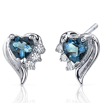 3d1d3869a Amazon.com: Heart Shape London Blue Topaz Earrings Sterling Silver 1.00  Carats: Stud Earrings: Jewelry
