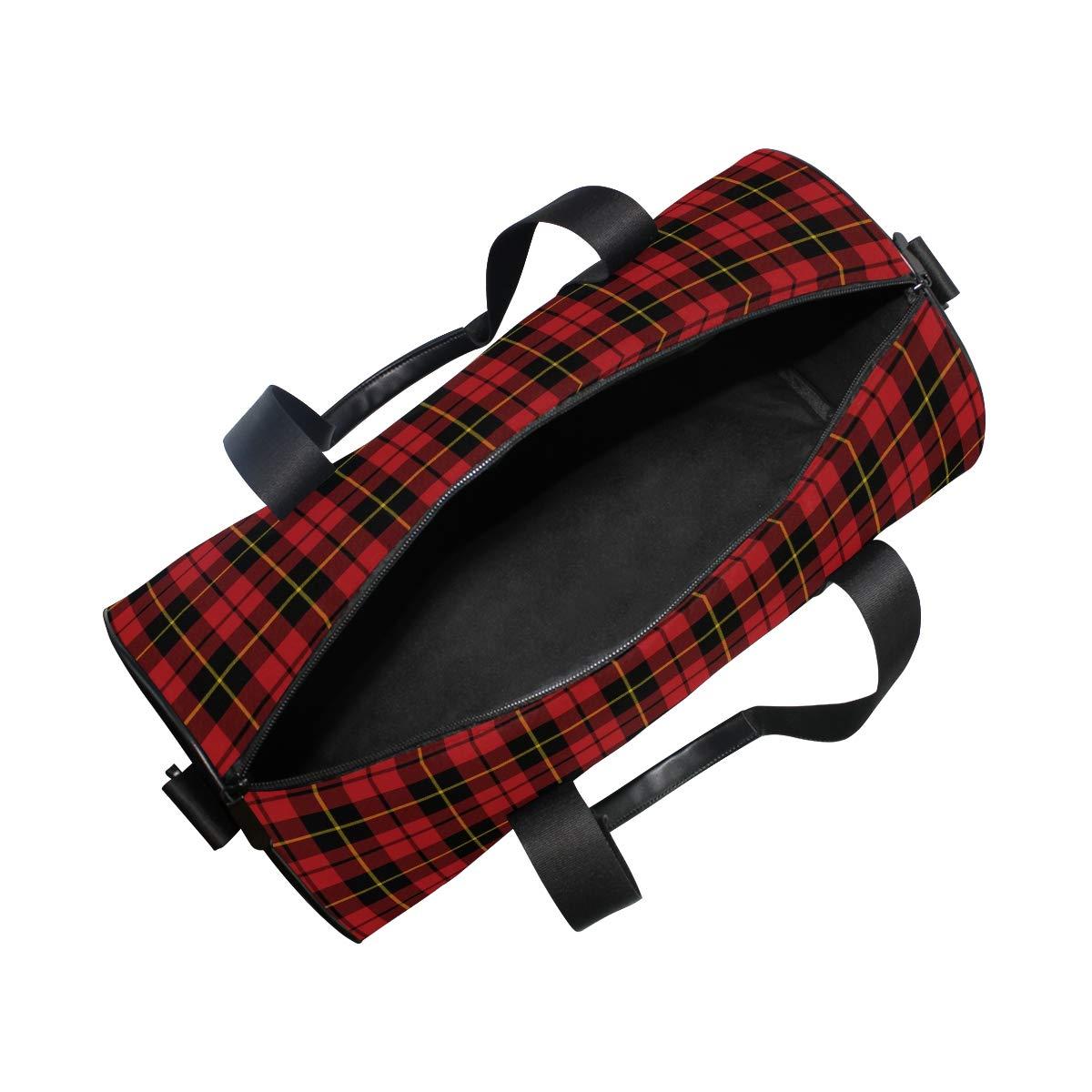Sports Gym Duffel Barrel Bag Small Plaid Wallac Red Tartan Travel Luggage Handbag for Men Women