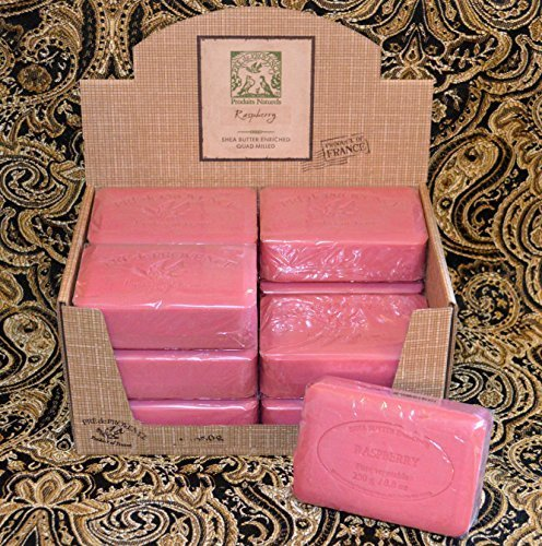 (Case of 12 Pre de Provence Raspberry Scent 250 gram shea butter extra large soap bars)