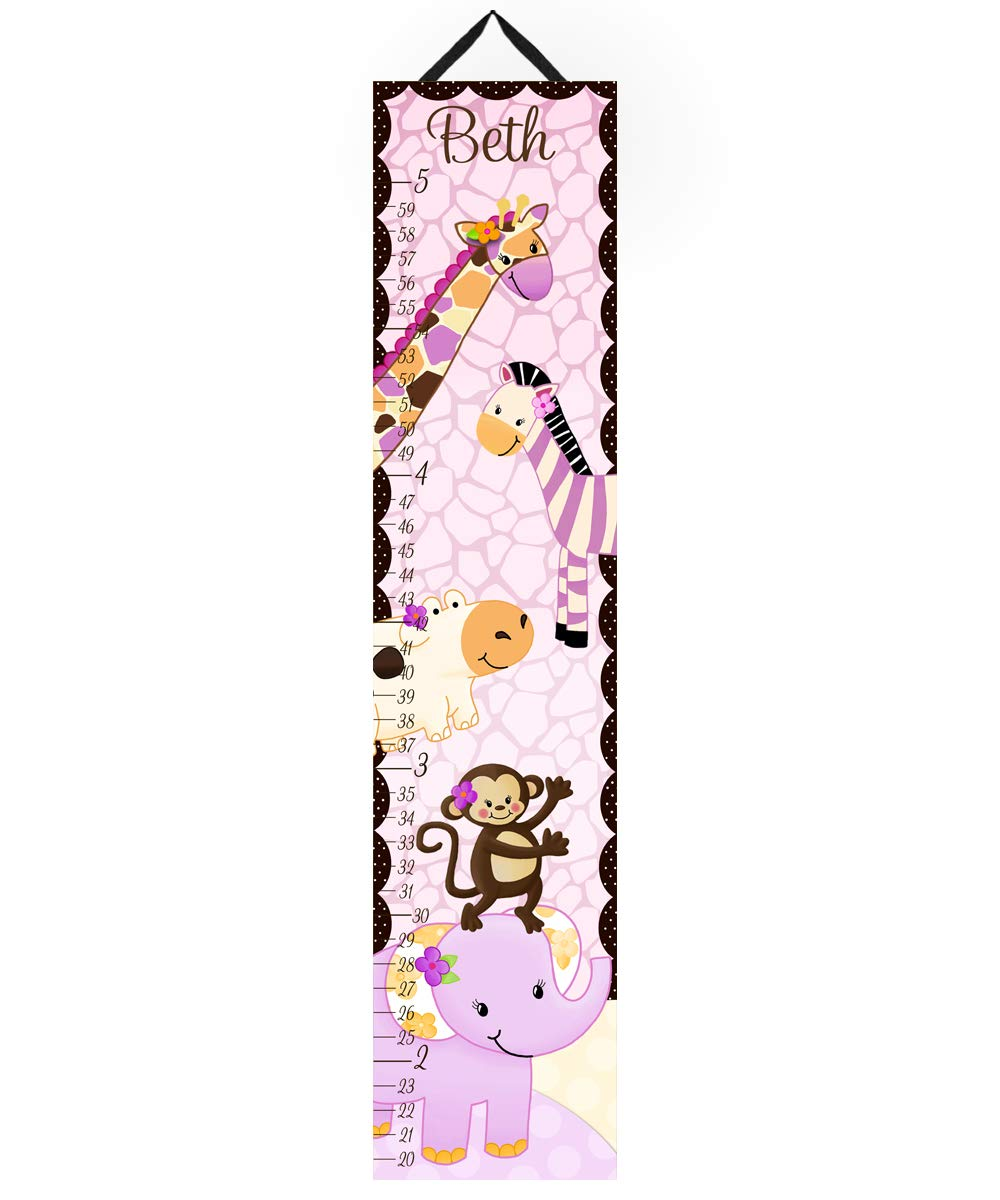 Canvas Growth Chart Plum Jungle Safari Girls Bedroom Baby Nursery Wall Art GC0054 Toad and Lily