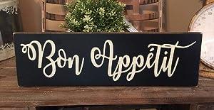 PotteLove Rustic Wood Sign Bon Appetit Farmhouse Home Decor Kitchen Food Eat Paris French