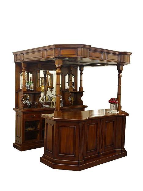 Theke Bar Antik Stil Massivholz Nussbaum-Farbton: Amazon.de: Küche ...