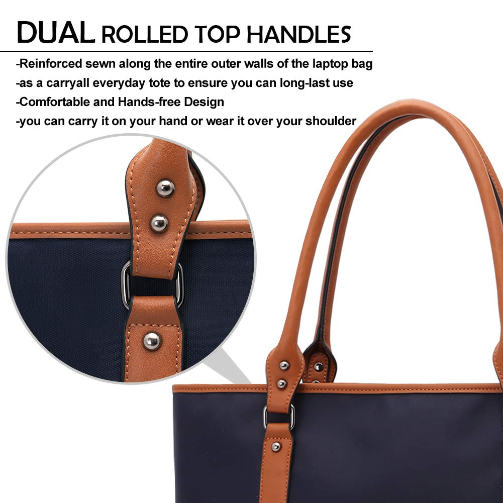 Laptop Bag for Women Lightweight Nylon Work Tote Bags Business School Computer Shoulder Bag Large Capacity Briefcase Accommodate 15-15.6 Inch Laptop,Navy by ZYSUN (Image #4)