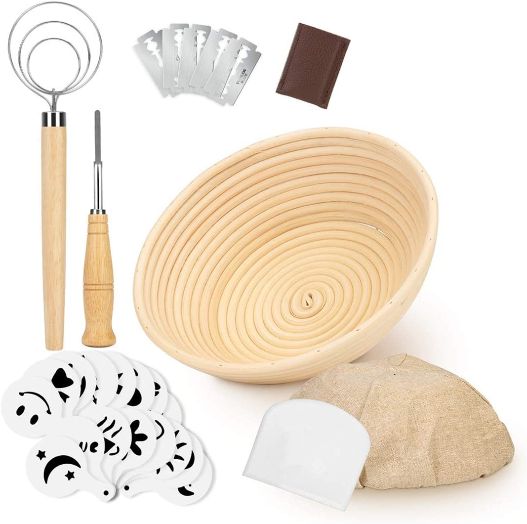 1 pc 9 Round Banneton Bread Proofing Basket Brotform Dough Rising with Liner+Dough Whisk+Oil Brush-Durable/&Eco-friendly-for Home Baker