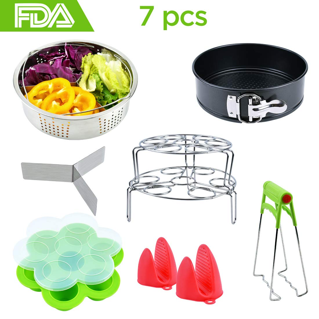 Pressure Cooker Accessories Kit: 7 Pieces - Compatible with 6,8 Qt Instant Pot - Springform Cake Pan/Steamer Basket Inserts/Egg Steamer Rack/Silicone Egg Bites Molds/Oven Mitts/Dish Clip Food Tongs