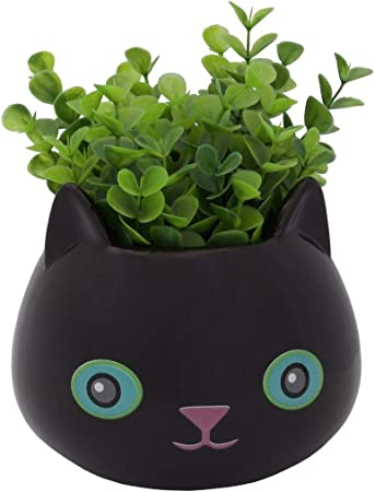 Amazon.com : Streamline Fine Feline Ceramic Cat Flower Planter Pot ...