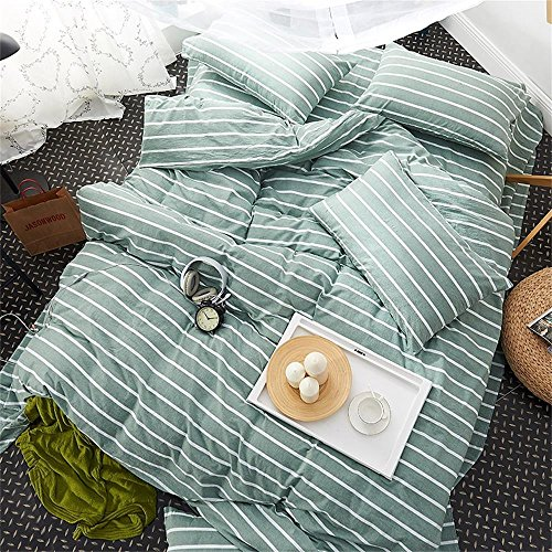 Striped Duvet Cover Sets Twin Boys Girls Green Cotton Fine Stripes Bedding Sets with Zipper Teens Kids 4 Corners Zipper Closure Comforter Cover 3 Pieces (Queen, Green) (Green Simple Stripes)