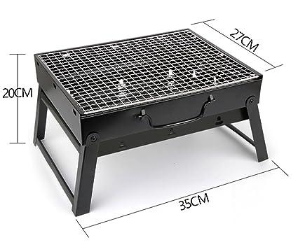 Parrilla de barbacoa portátil, carbón de leña Barbacoa Camping exterior BBQ Utensil - 35x27x19.