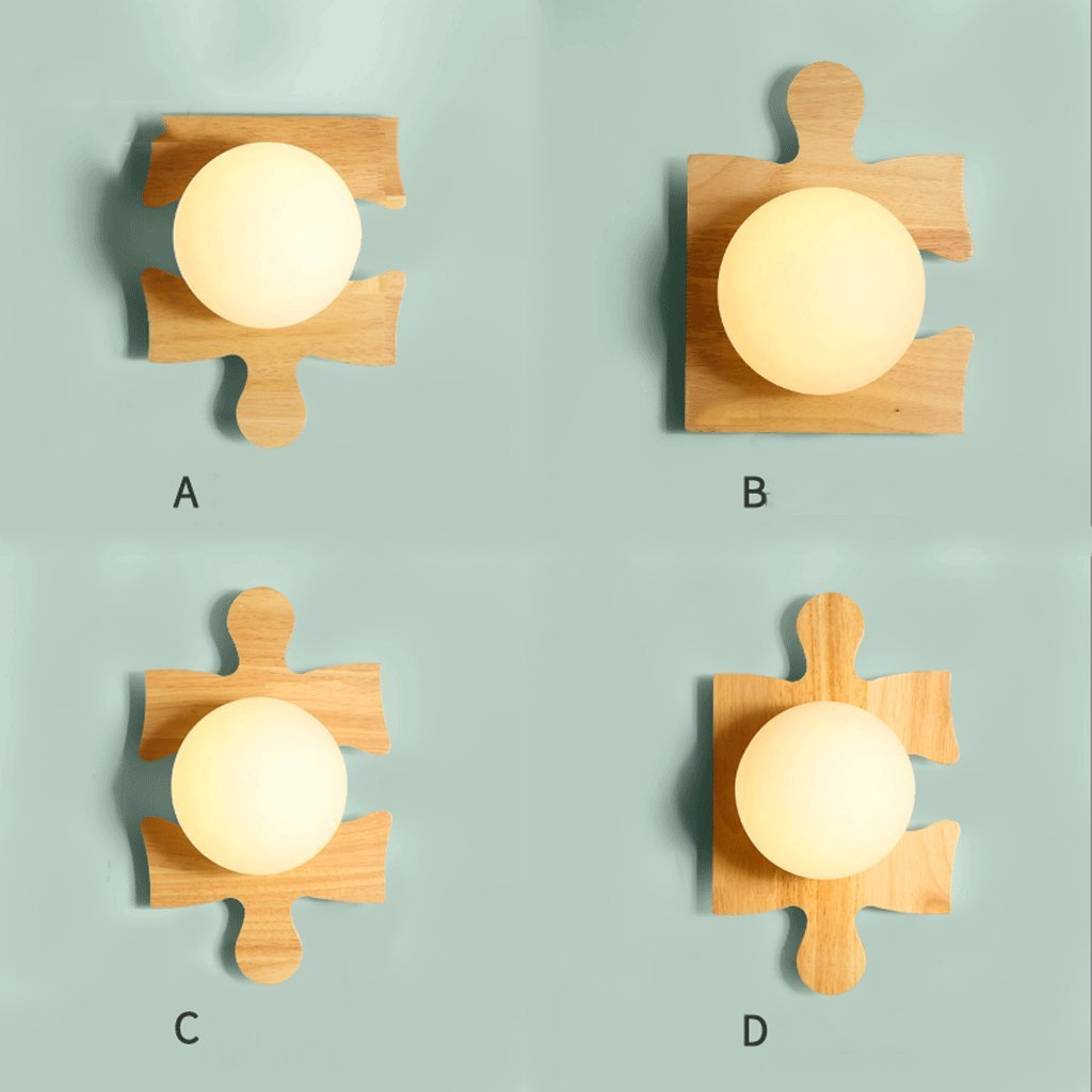 Unbekannt GJ Massivholz Wandleuchte - Schlafzimmer Wandleuchte Massivholz Nachttischlampe Gang Korridor Kinderzimmer Wandleuchte GJV (Größe   A)