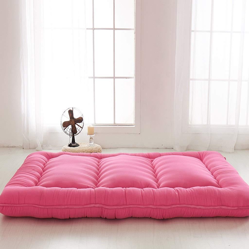 Pink 1.8X2.0m Mattress Pad Futon Mattress Sleeping Floor Mat Thick Foldable Soft Japanese Student Dormitory (color   Light Pink, Size   1.8X2.0m)