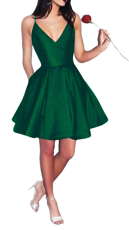 Dark Green SkirtsFirst Short Spaghetti Straps VNeck Aline Satin Homecoming Dress with Pockets