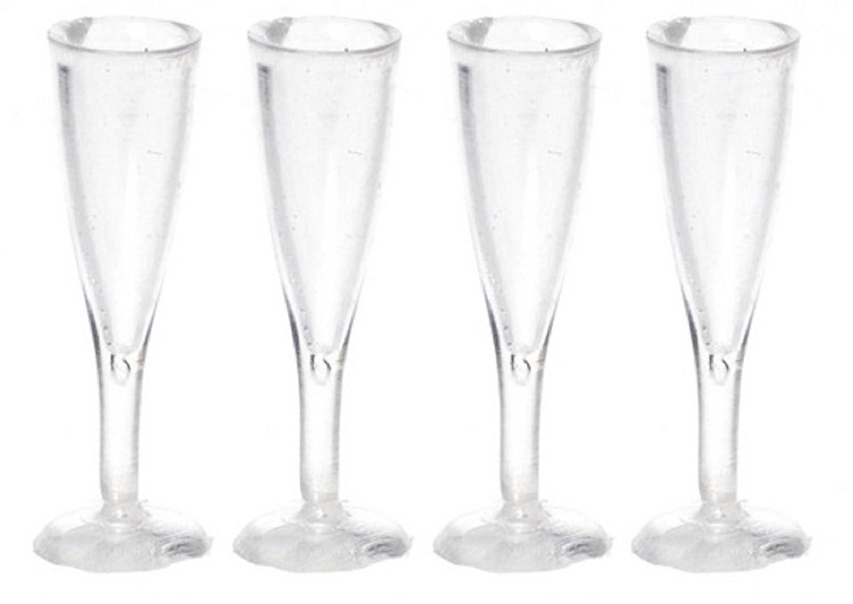Dolls B00NQHHL10 House Pub Miniature Pub Bar Accessory 4 Set of 4 Empty Fluted Champagne Glasses B00NQHHL10, ホビーショップB-SIDE:0d6c641f --- mail.tastykhabar.com