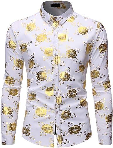 CAOQAO Camisa Hombre Camiseta Manga Larga Verano Otoño Camisas de Moda Casual Tops Playa Blusa Casual Suelta: Amazon.es: Ropa y accesorios