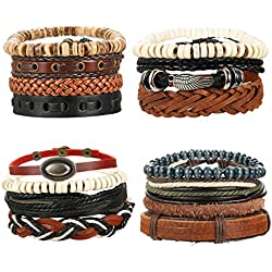 LOYALLOOK 15Pcs Braided Leather Bracelets for Men Women Wooden Beaded Bracelets Wrap Cuff Bracelets Adjustable Wing