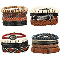 4-16pcs Mixed Wrap Leather Wristbands Bracelets and Wood Beads Bracelet Set for Men Women 7-8.5inches Adjustable