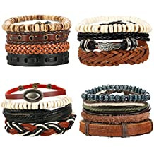 LOYALLOOK 4-16pcs Mixed Wrap Leather Wristbands Bracelets and Wood Beads Bracelet Set for Men Women 7-8.5inches Adjustable