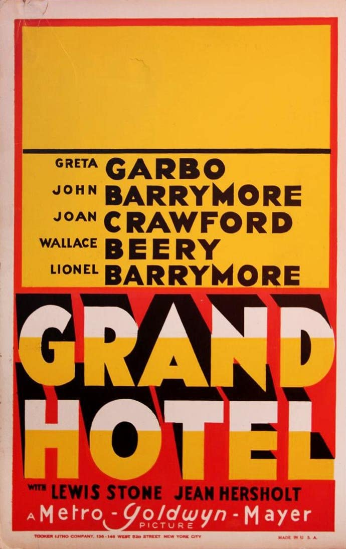 Amazon Com Grand Hotel 1932 Window Card Poster All Star Extravaganza Simple Art Deco Nf Entertainment Collectibles
